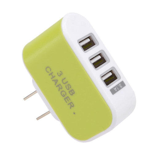 Motorola Adventure V750 - 3.1 Amp 3 USB Port Home/Travel Wall Charger Adapter, Lime Green