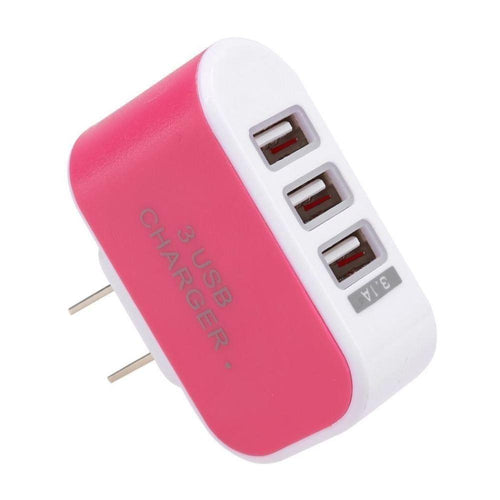 Kyocera Hydro Xtrm - 3.1 Amp 3 USB Port Home/Travel Wall Charger Adapter, Hot Pink