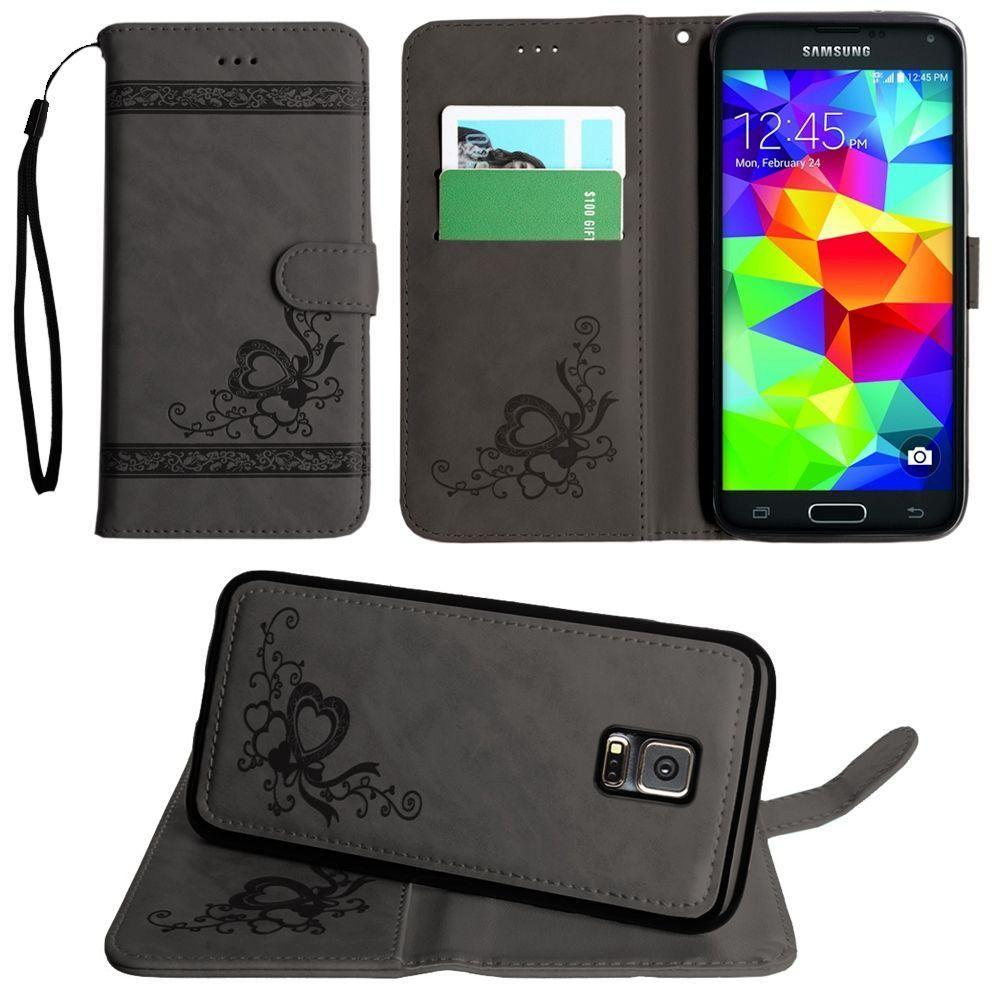 - Embossed heart vine design wallet case with detachable matching case, Gray for Samsung Galaxy S5