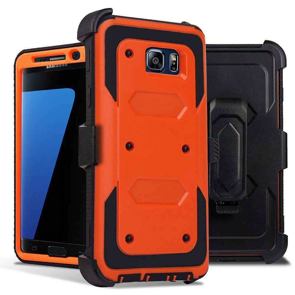 - Triple Protection Rugged Case and Holster Shell Combo, Orange/Black for Samsung Galaxy S7