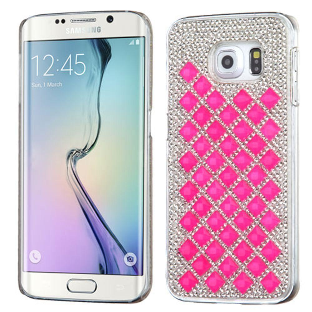 - Full Crystals Desire Rhinestone Slim Case, Hot Pink for Samsung Galaxy S6 Edge