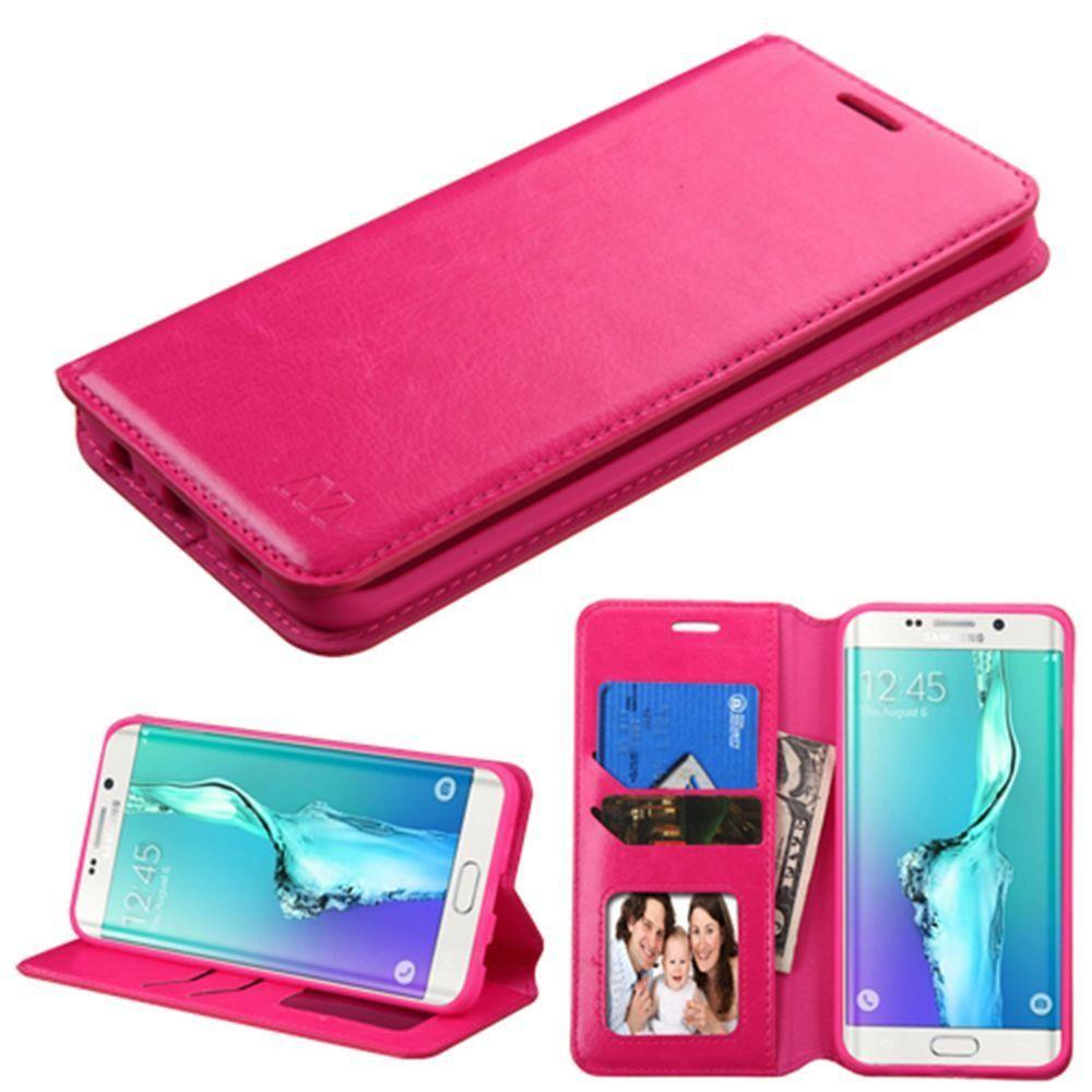 - Bi-Fold Leather Folding Wallet Case and Stand, Hot Pink for Samsung Galaxy S6 Edge Plus