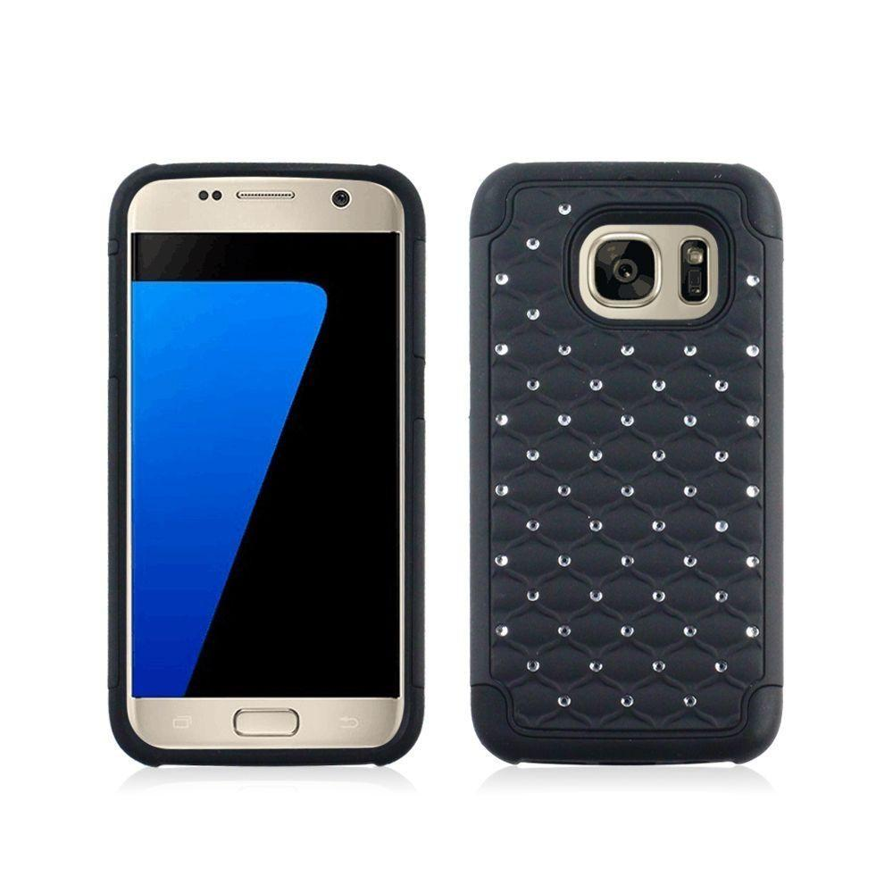 - Studded Diamond Rugged Case, Black for Samsung Galaxy S7