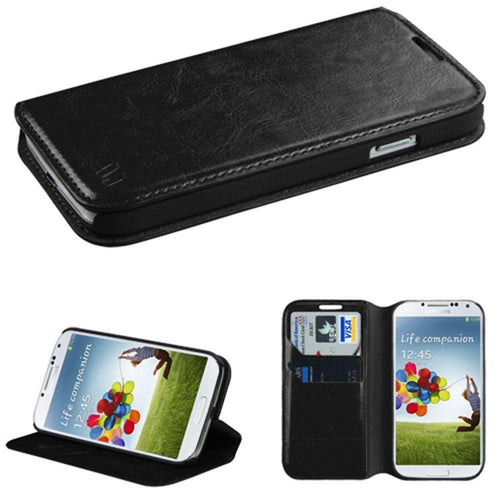 Samsung Galaxy S4 - Bi-Fold Leather Folding Wallet Case and Stand, Black for Samsung Galaxy S4