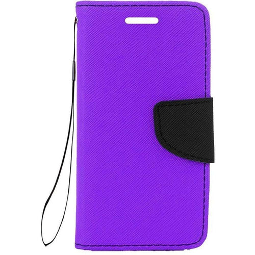 Samsung Galaxy S6 - Premium 2 Tone Leather Folding Wallet Case, Purple/Black for Galaxy S6