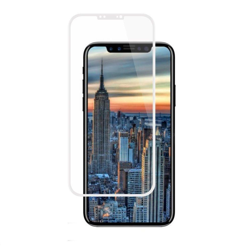 - Full Edge Colored Tempered Glass Screen Protector, White for Apple iPhone X