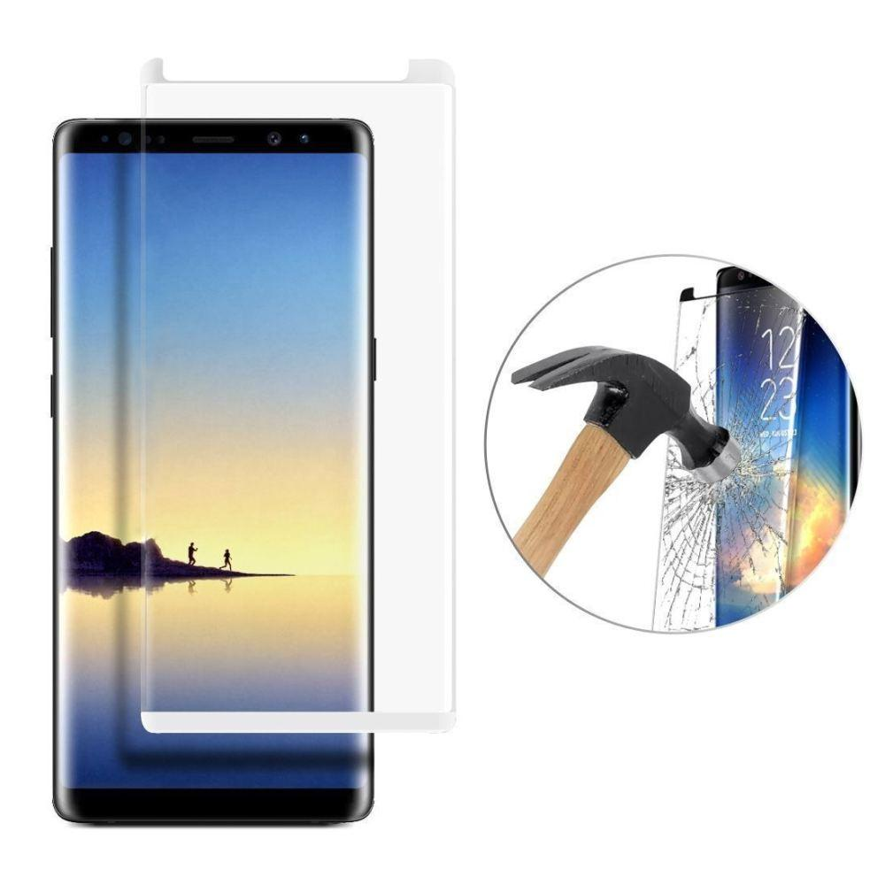- Full Edge Colored Tempered Glass Screen Protector, White for Samsung Galaxy Note 8