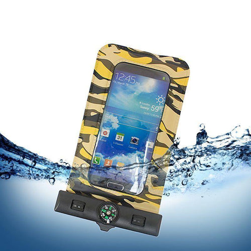 Motorola Droid 3 - Splash Guardz Camo Waterproof Case with Lanyard, Brown