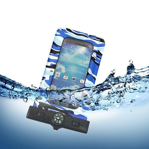 Motorola Droid 4 - Splash Guardz Waterproof Case with Lanyard, Blue Camo