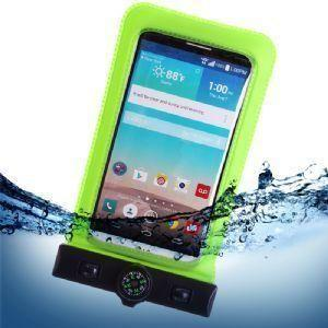 Pantech Pg 3810 - Splash Guardz Waterproof Case with Lanyard, Lime Green