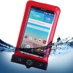 Pantech Pg 3810 - Splash Guardz Waterproof Case with Lanyard, Red