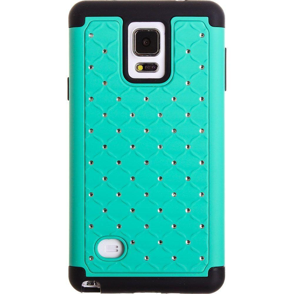 - Studded Diamond Rugged Case, Mint for Samsung Galaxy Note 4