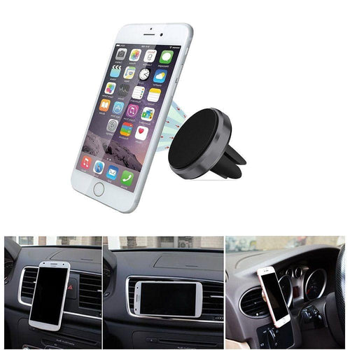 Pantech Pg 3810 - Compact magnetic phone holder air vent car mount, Gray