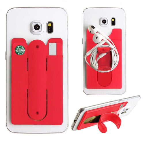 Motorola Droid 3 - 2in1 Phone Stand and Credit Card Holder, Red