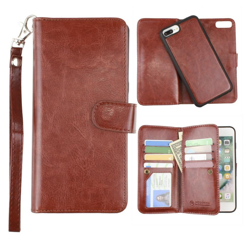- Multi-Card Slot Wallet Case with Matching Detachable Case and Wristlet, Brown for Apple iPhone 6 Plus/iPhone 6s Plus/iPhone 7 Plus/iPhone 8 Plus