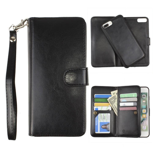 Apple Iphone 6 Plus - Multi-Card Slot Wallet Case with Matching Detachable Case and Wristlet, Black for Apple iPhone 6 Plus/iPhone 6s Plus/iPhone 7 Plus/iPhone 8 Plus