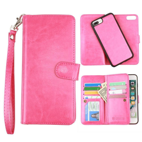 Apple Iphone 6s Plus - Multi-Card Slot Wallet Case with Matching Detachable Case and Wristlet, Hot Pink for Apple iPhone 6 Plus/iPhone 6s Plus/iPhone 7 Plus/iPhone 8 Plus