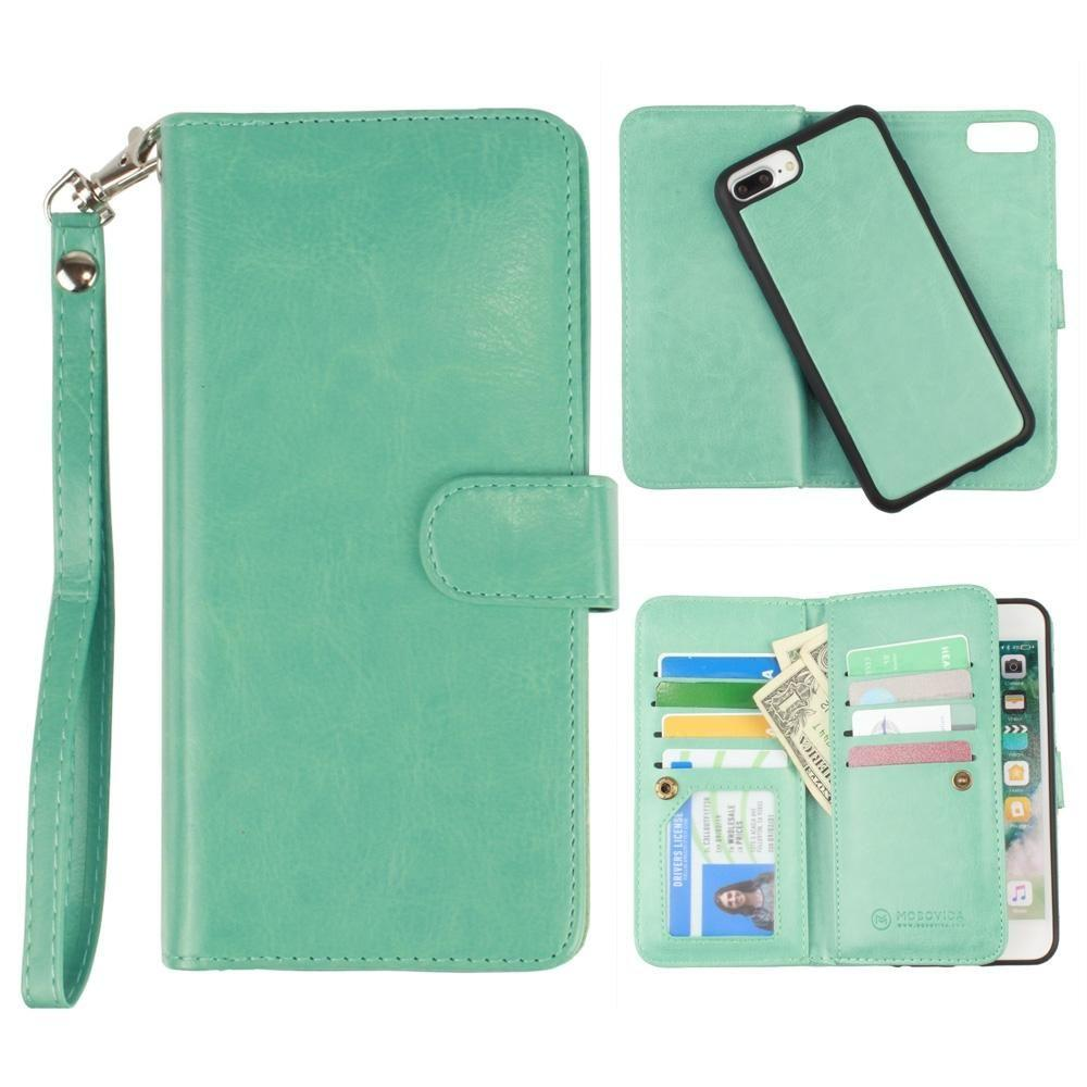 - Multi-Card Slot Wallet Case with Matching Detachable Case and Wristlet, Teal Blue for Apple iPhone 6 Plus/iPhone 6s Plus/iPhone 7 Plus/iPhone 8 Plus