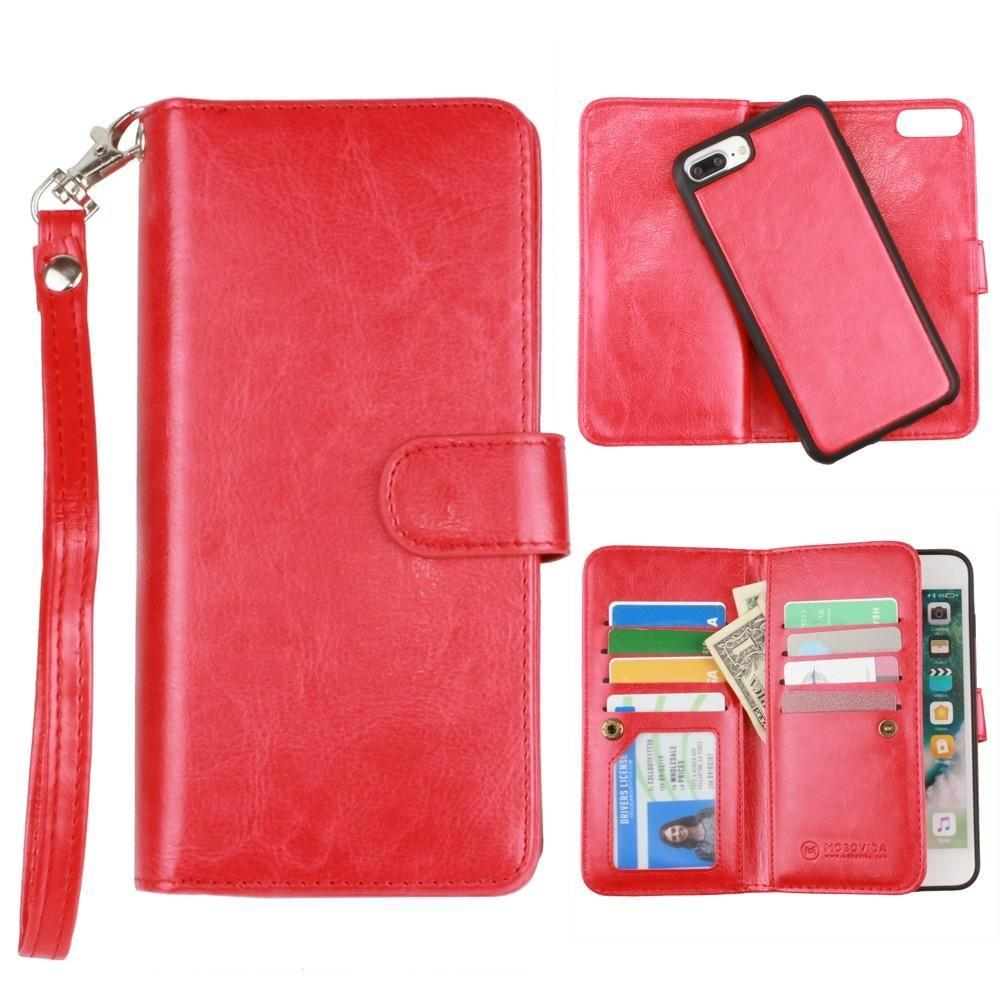 - Multi-Card Slot Wallet Case with Matching Detachable Case and Wristlet, Red for Apple iPhone 6 Plus/iPhone 6s Plus/iPhone 7 Plus/iPhone 8 Plus
