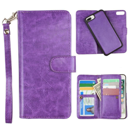 Apple Iphone 8 Plus - Multi-Card Slot Wallet Case with Matching Detachable Case and Wristlet, Purple for Apple iPhone 6 Plus/iPhone 6s Plus/iPhone 7 Plus/iPhone 8 Plus