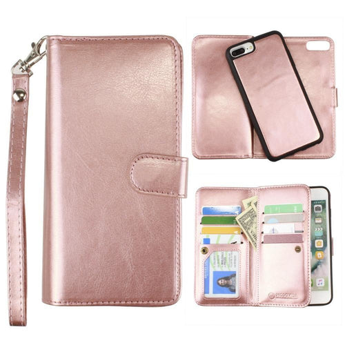 Apple Iphone 6 Plus - Multi-Card Slot Wallet Case with Matching Detachable Case and Wristlet, Rose Gold for Apple iPhone 6 Plus/iPhone 6s Plus/iPhone 7 Plus/iPhone 8 Plus