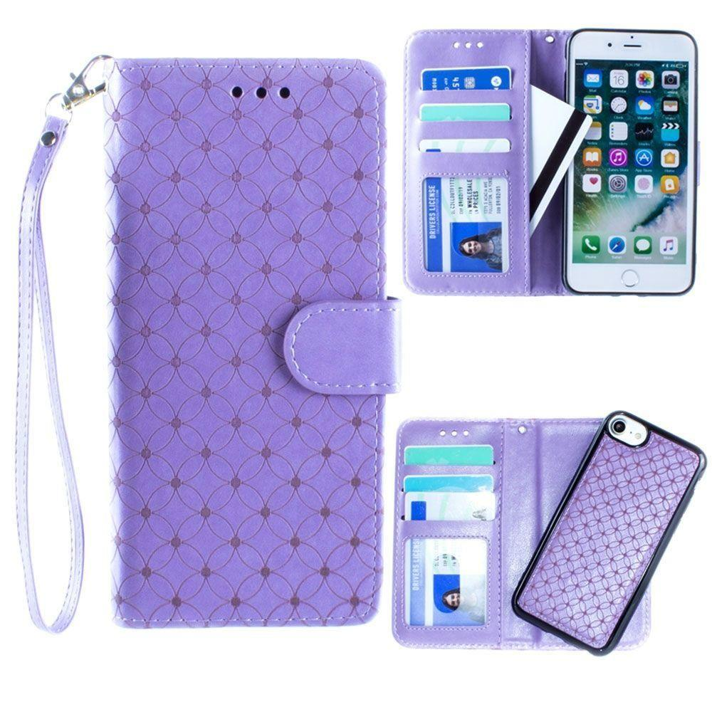 - Diamond pattern laser-cut wallet with detachable matching slim case and wristlet, Lavender for Apple iPhone 6/iPhone 6s/iPhone 7/iPhone 8