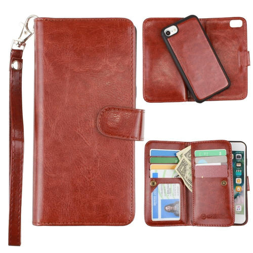 Apple Iphone 6 - Multi-Card Slot Wallet Case with Matching Detachable Case and Wristlet, Brown for Apple iPhone 6/iPhone 6s/iPhone 7/iPhone 8
