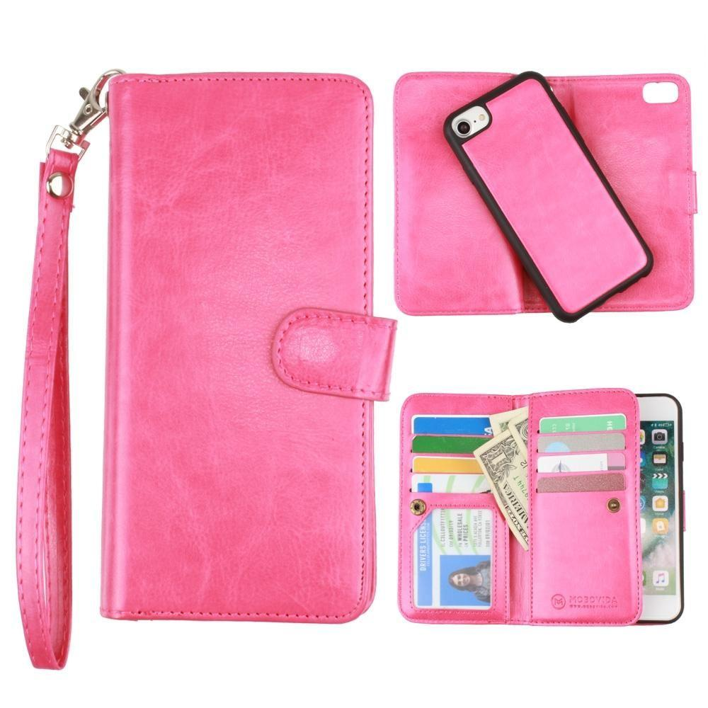 - Multi-Card Slot Wallet Case with Matching Detachable Case and Wristlet, Hot Pink for Apple iPhone 6/iPhone 6s/iPhone 7/iPhone 8