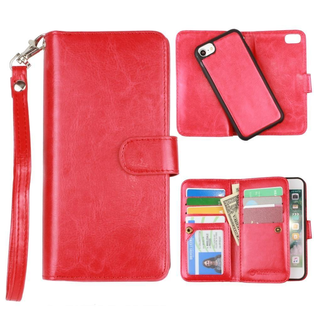 - Multi-Card Slot Wallet Case with Matching Detachable Case and Wristlet, Red for Apple iPhone 6/iPhone 6s/iPhone 7/iPhone 8