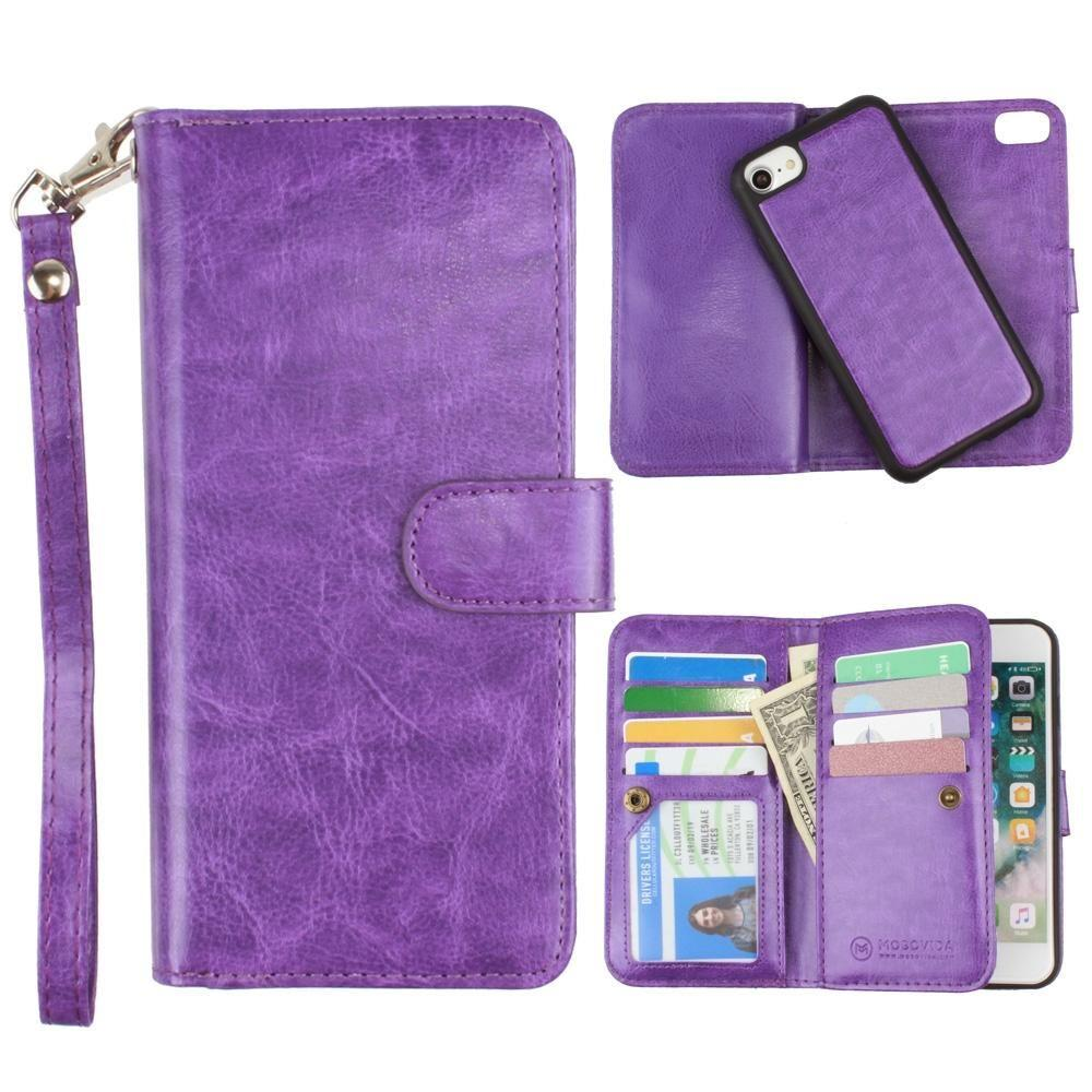 - Multi-Card Slot Wallet Case with Matching Detachable Case and Wristlet, Purple for Apple iPhone 6/iPhone 6s/iPhone 7/iPhone 8