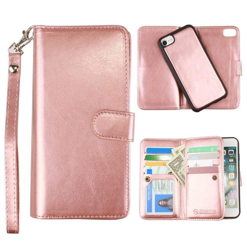 - Multi-Card Slot Wallet Case with Matching Detachable Case and Wristlet, Rose Gold for Apple iPhone 6/iPhone 6s/iPhone 7/iPhone 8