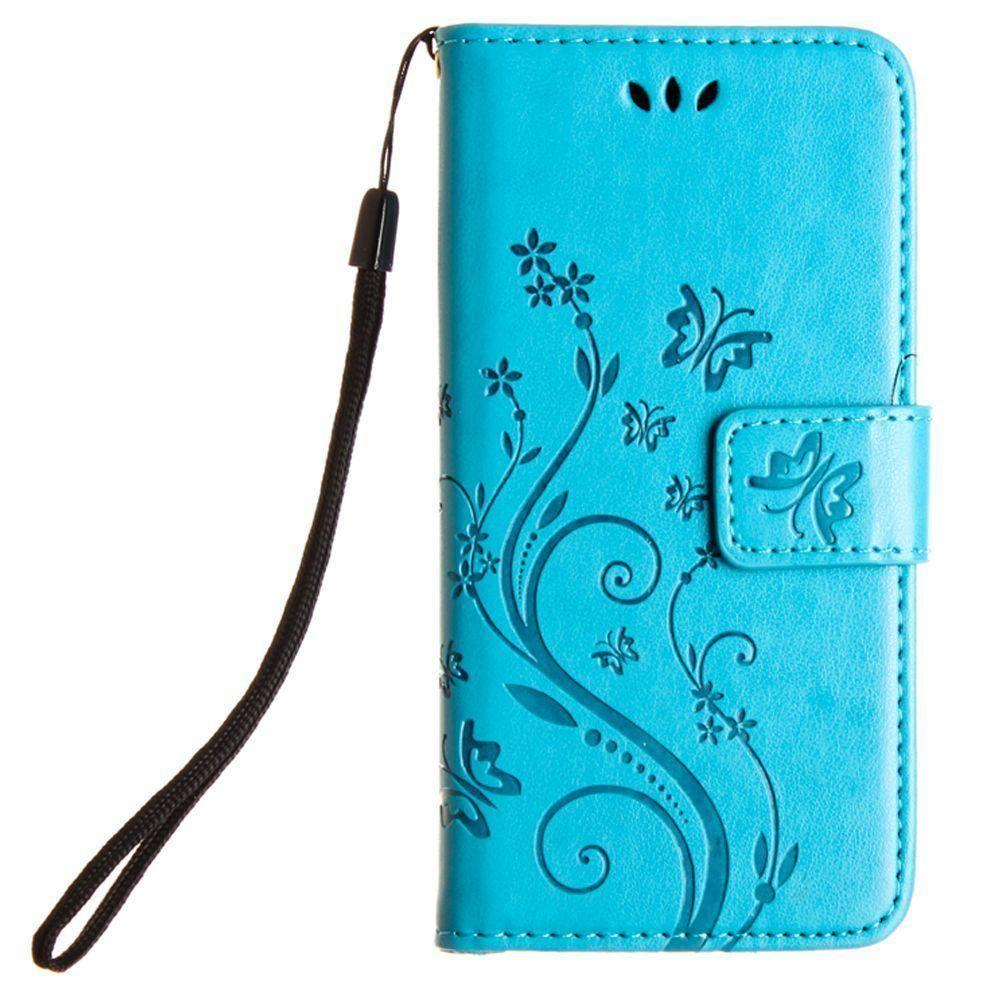Galaxy S4 - Embossed Butterfly Design Leather Folding Wallet Case with Wristlet, Teal for Samsung Galaxy S4