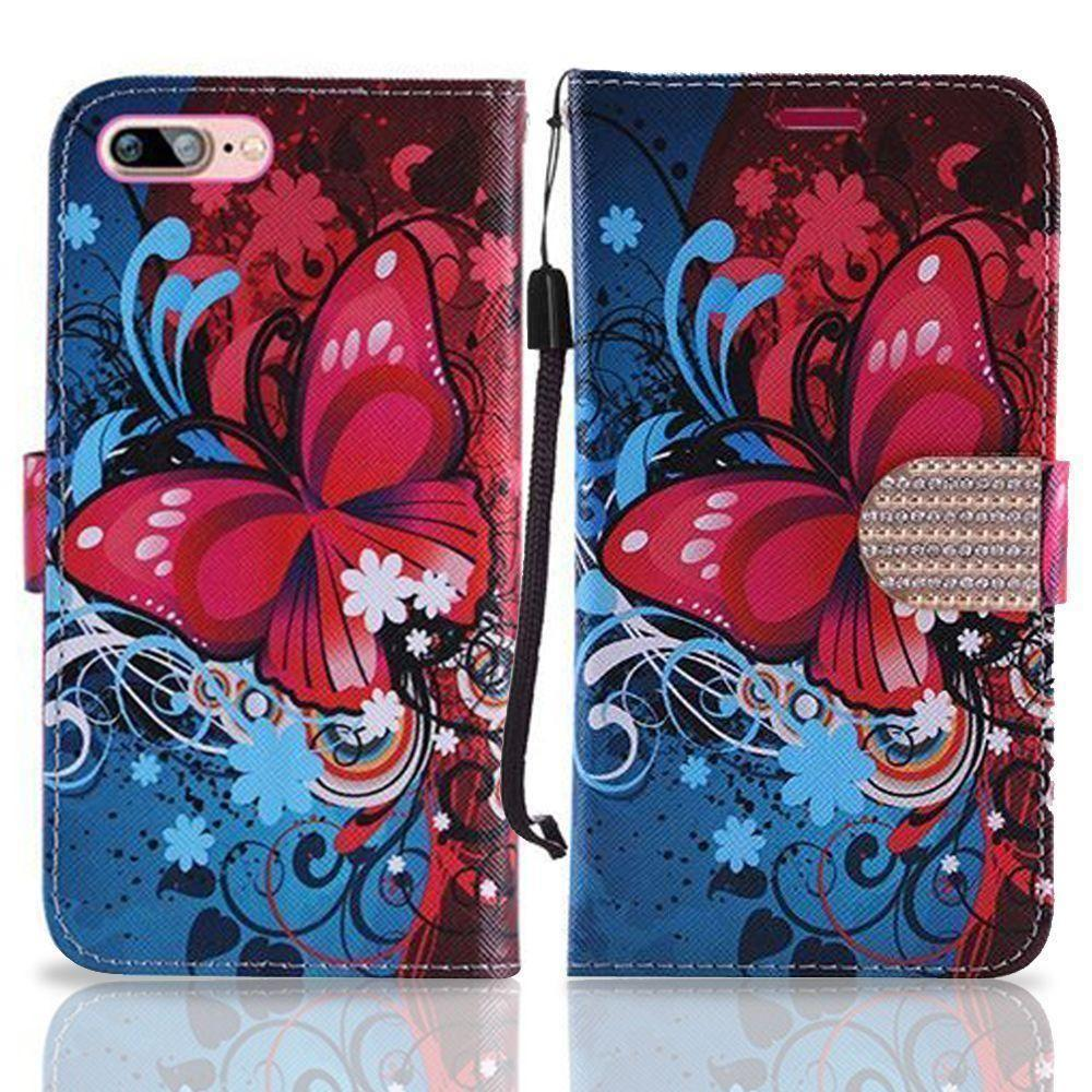 - Butterfly Harmony Swirl Shimmering Folding Phone Wallet, Pink/Blue for Apple iPhone 7 Plus/iPhone 8 Plus