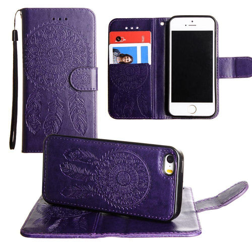 Apple Iphone 5 - Embossed Dream Catcher Design Wallet Case with Detachable Matching Case and Wristlet, Purple for Apple iPhone 5/iPhone 5s/iPhone SE