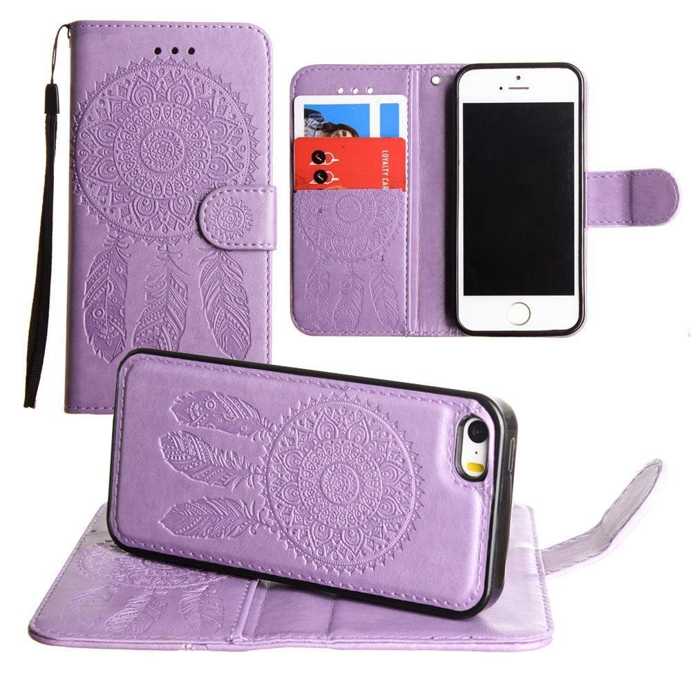 - Embossed Dream Catcher Design Wallet Case with Detachable Matching Case and Wristlet, Lavender for Apple iPhone 5/iPhone 5s/iPhone SE