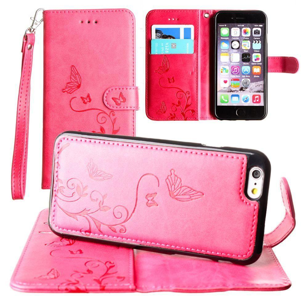 - Embossed Butterfly Design Wallet Case with Detachable Matching Case and Wristlet, Hot Pink for Apple iPhone 6 Plus/iPhone 6s Plus/iPhone 7 Plus/iPhone 8 Plus