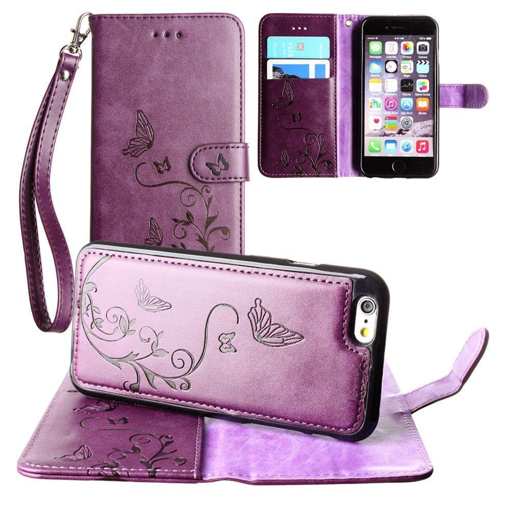 - Embossed Butterfly Design Wallet Case with Detachable Matching Case and Wristlet, Purple for Apple iPhone 6 Plus/iPhone 6s Plus/iPhone 7 Plus/iPhone 8 Plus