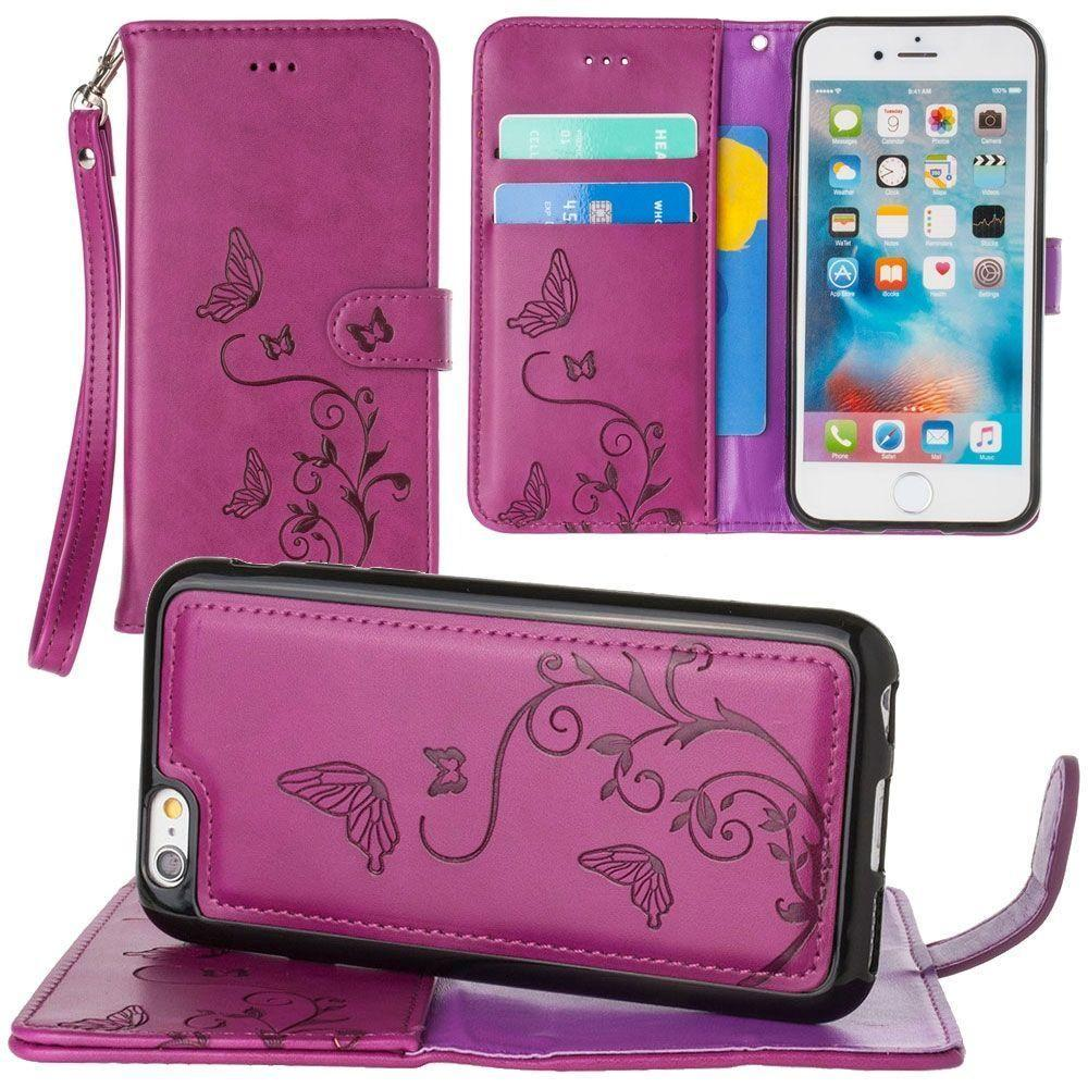 - Embossed Butterfly Design Wallet Case with Detachable Matching Case and Wristlet, Magenta for Apple iPhone 6/iPhone 6s/iPhone 7/iPhone 8