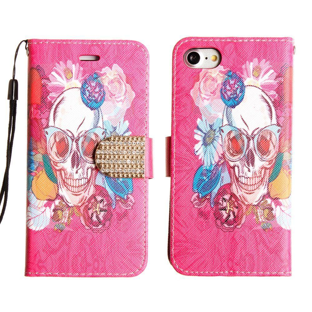 - Fashion hip Skull Shimmering Folding Phone Wallet, Multi-Color for Apple iPhone 7/iPhone 8