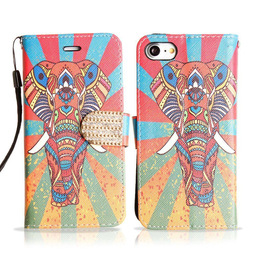 - Colorful Exotic Elephant Shimmering Folding Phone Wallet, Multi-Color for Apple iPhone 7/iPhone 8