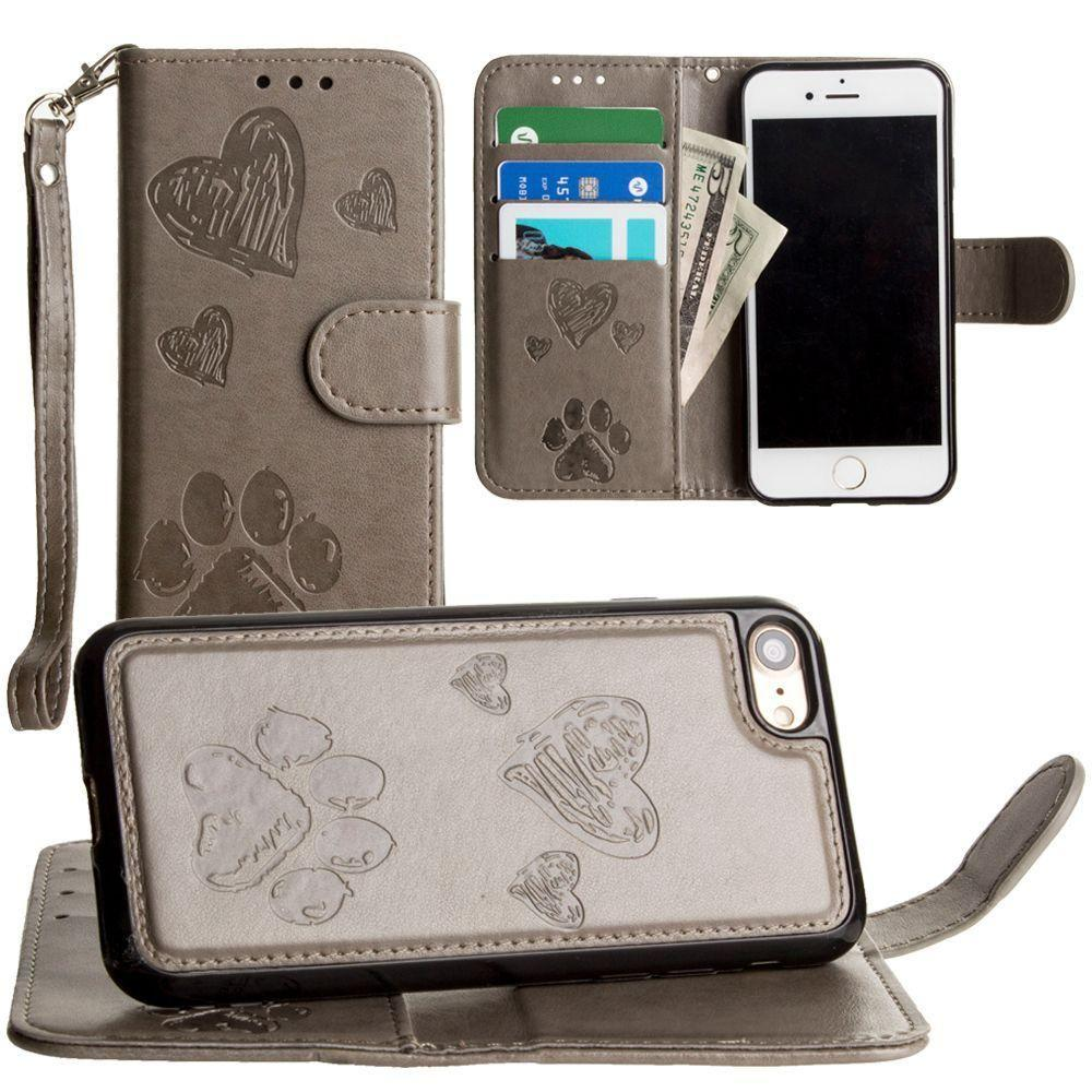 - Puppy Love Wallet with Matching Detachable Magnetic Phone Case and Wristlet, Gray for Apple iPhone 6/iPhone 6s/iPhone 7/iPhone 8