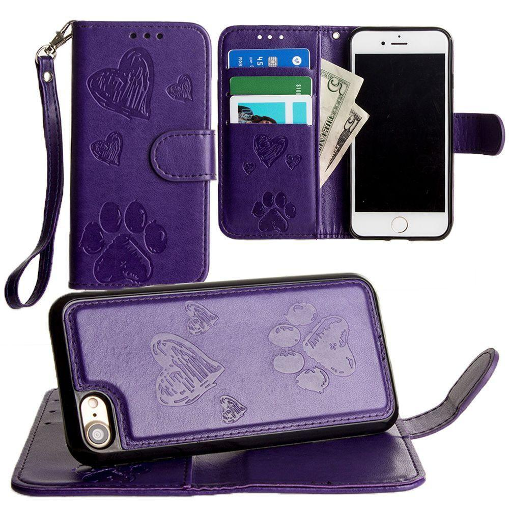 - Puppy Love Wallet with Matching Detachable Magnetic Phone Case and Wristlet, Purple for Apple iPhone 6/iPhone 6s/iPhone 7/iPhone 8