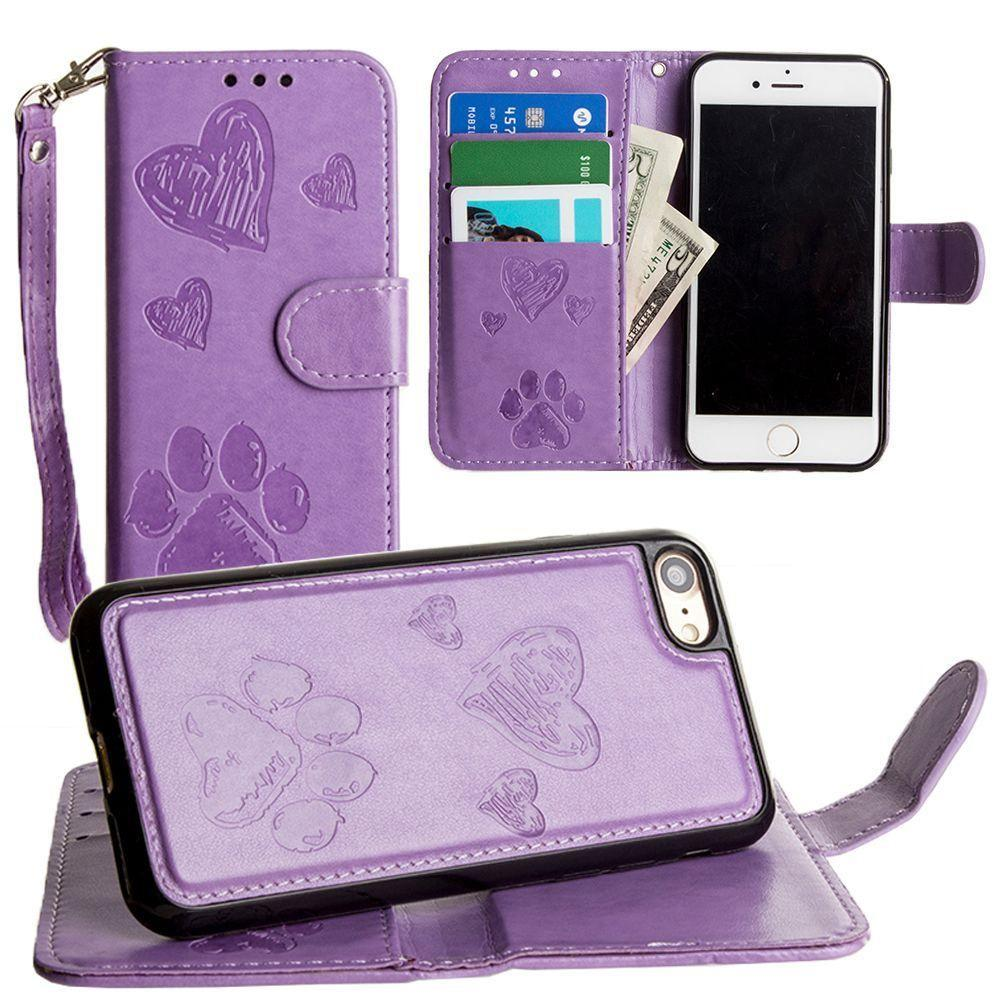 - Puppy Love Wallet with Matching Detachable Magnetic Phone Case and Wristlet, Lavender for Apple iPhone 6/iPhone 6s/iPhone 7/iPhone 8