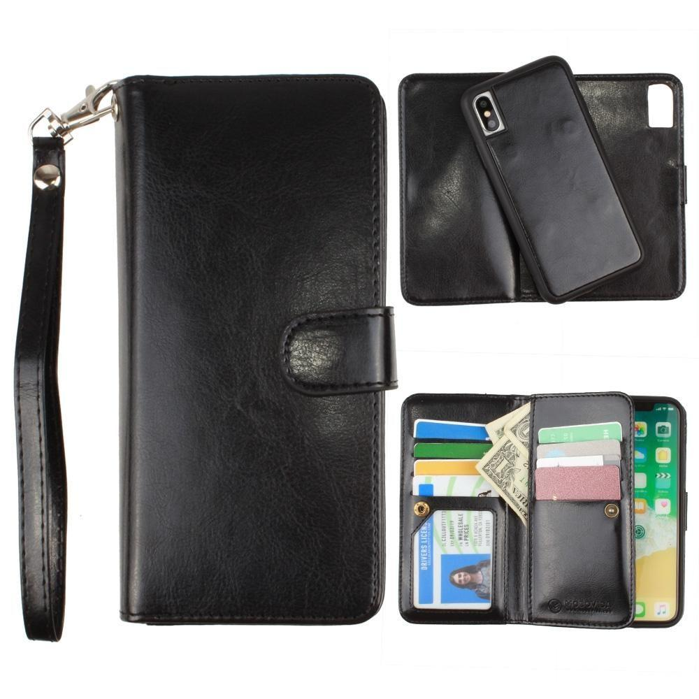 - Multi-Card Slot Wallet Case with Matching Detachable Case and Wristlet, Black for Apple iPhone X