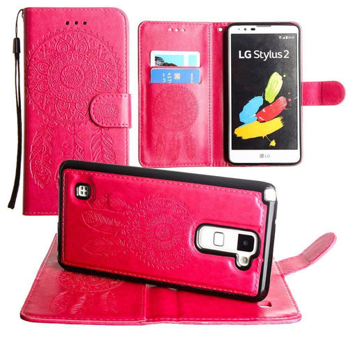 Lg Stylo 2 - Embossed Dream Catcher Design Wallet Case with Detachable Matching Case and Wristlet, Pink
