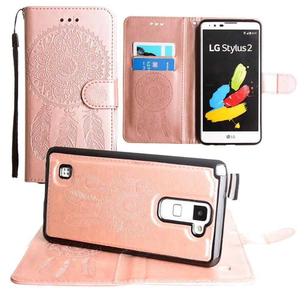 - Embossed Dream Catcher Design Wallet Case with Detachable Matching Case and Wristlet, Rose Gold