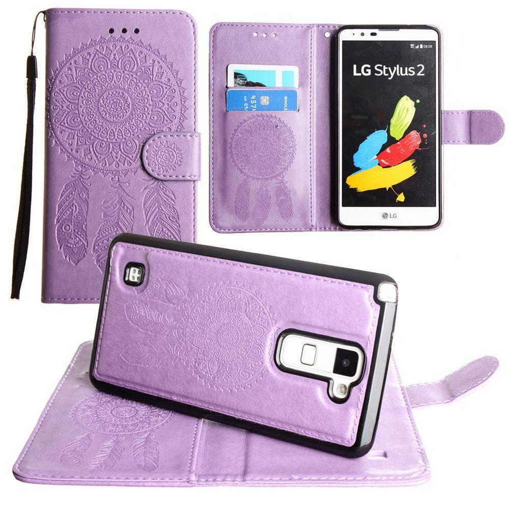- Embossed Dream Catcher Design Wallet Case with Detachable Matching Case and Wristlet, Lavender
