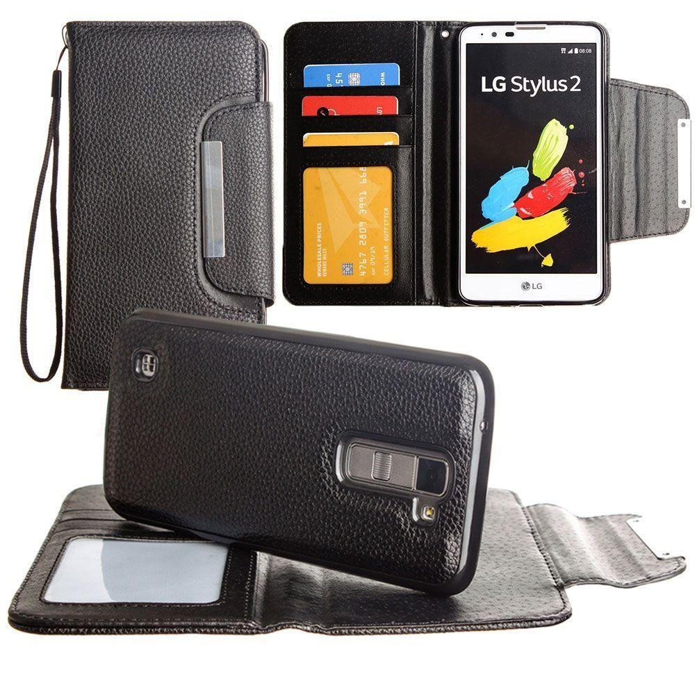 - Compact Wallet Case with Detachable Slim Case, Card Slots and wristlet, Black