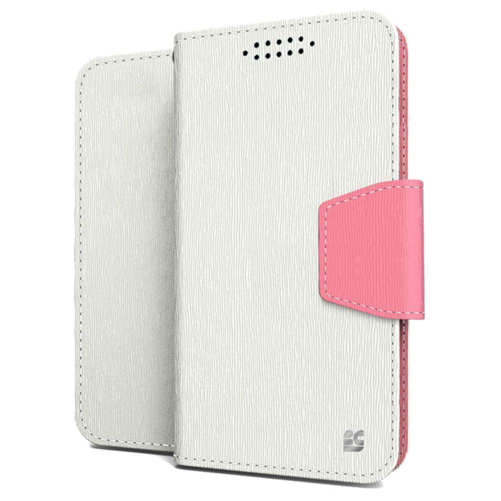 - Leather Folding Wallet Phone Case, White/Pink for Samsung Galaxy S6 Edge Plus