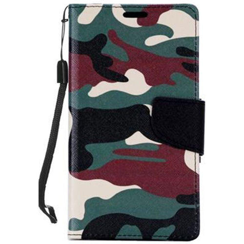 Samsung Galaxy J7 2015 - Camouflage Design Folding Wallet Case, Green/Black